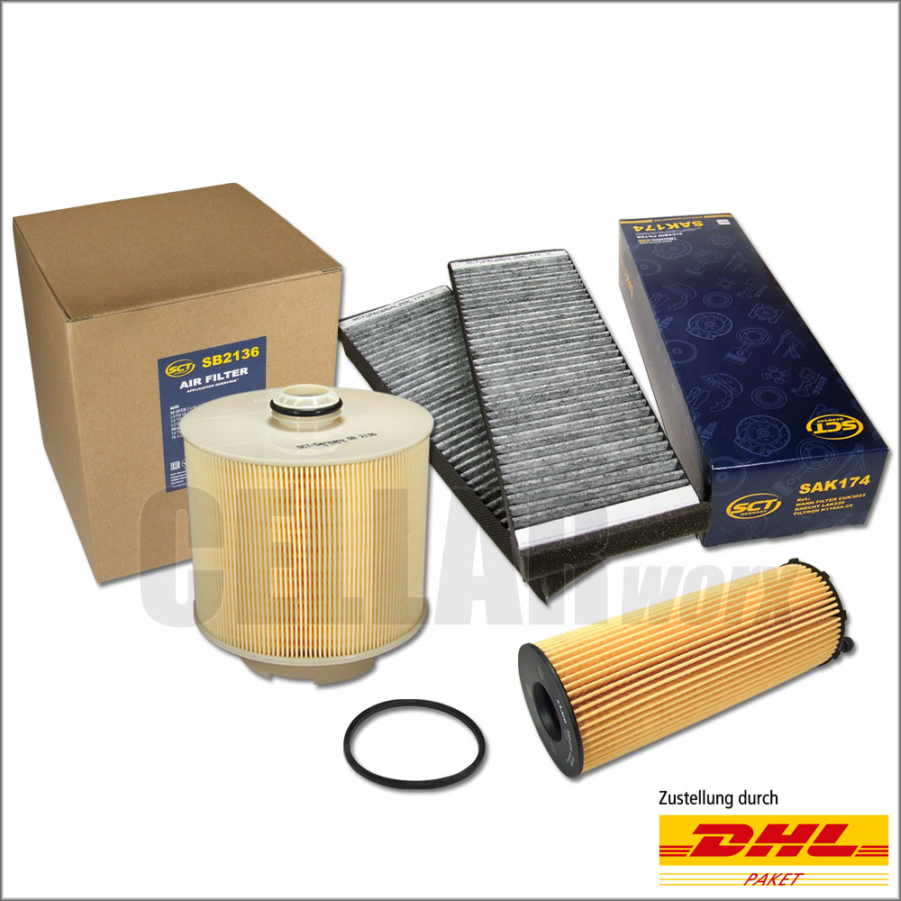 MANN Luftfilter Ölfilter Innenraumfilter Filter Set  AUDI A6 4F// C6 2.7 3.0 TDI