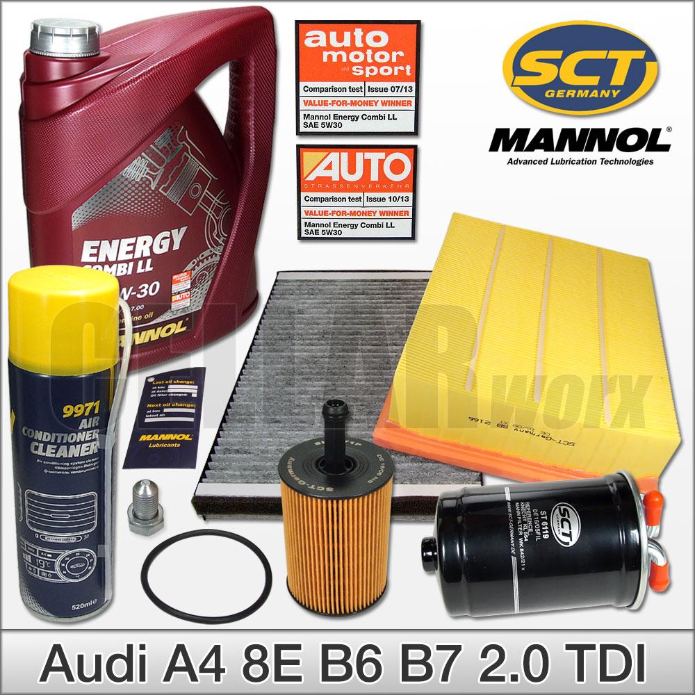 MANN Ölfilter SCT Germany Luftfilter Pollenfilter Audi A4 8E B6 B7 1,9TDI Diesel